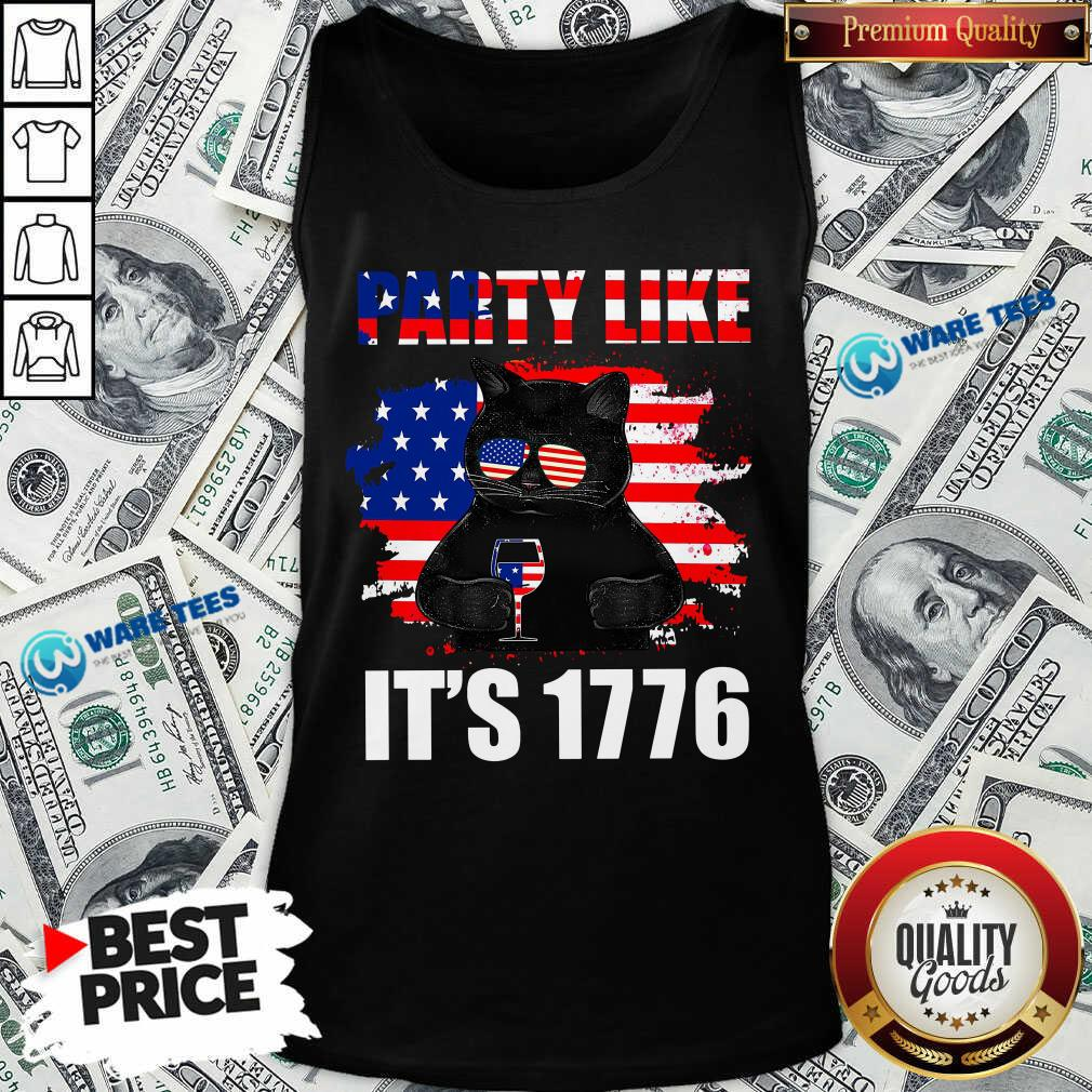 Black Cat Party Like Its 1776 Tank Top