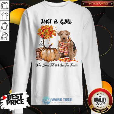 Dog And Pumpkin Just A Girl Who Loves Fall And Wire Fox Terrier Halloween Sweatshirt