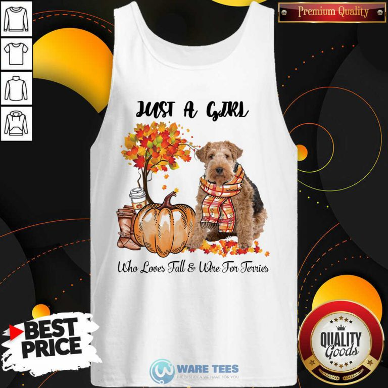 Dog And Pumpkin Just A Girl Who Loves Fall And Wire Fox Terrier Halloween Tank Top