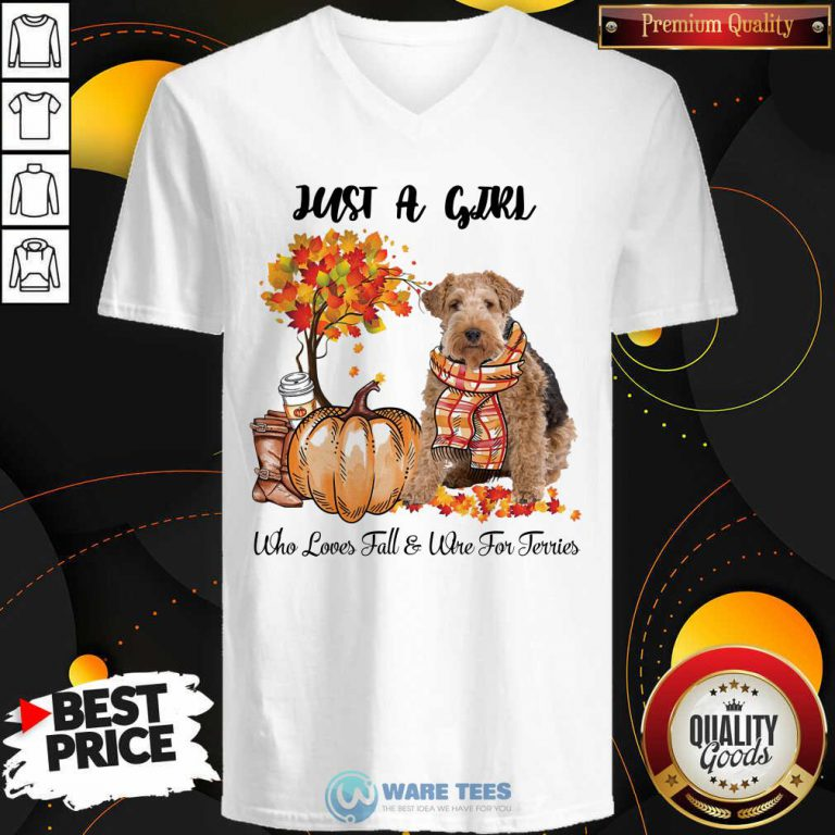 Dog And Pumpkin Just A Girl Who Loves Fall And Wire Fox Terrier Halloween V-neck