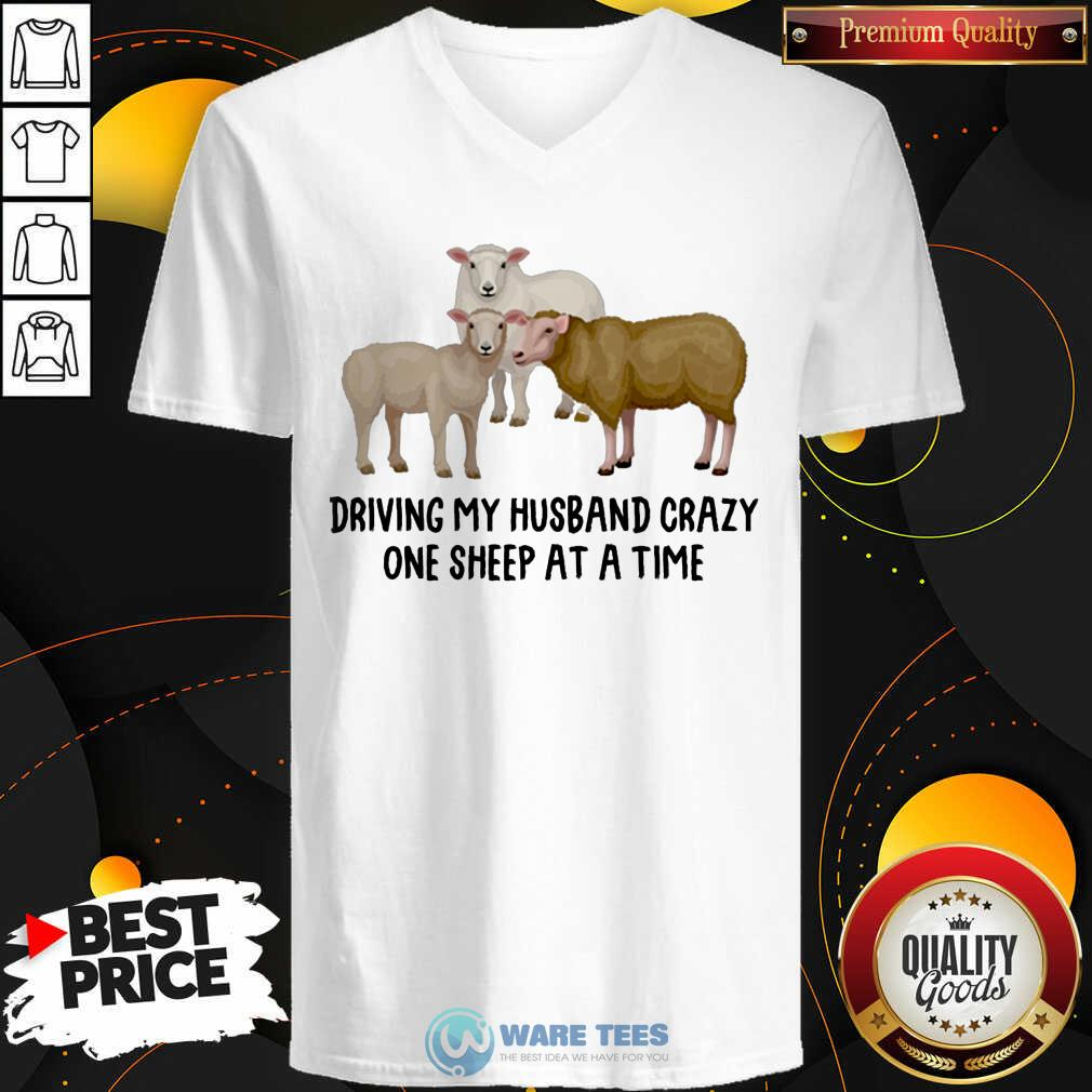 Driving My Husband Crazy One Sheep At A Time V-neck