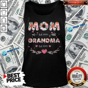 Flower Mom Est Grandma Est Tank Top