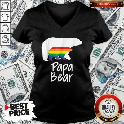 LGBT Dad Papa Bear V-neck