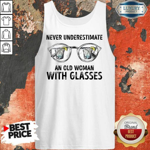 Never Underestimate Old Man With Glasses Tank Top