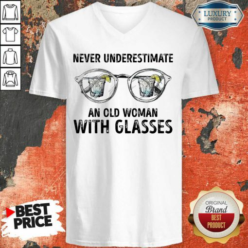 Never Underestimate Old Man With Glasses V-neck