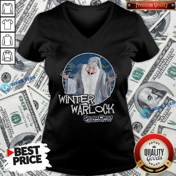 Nice Santa Claus Is Comin To Town Winter Warlock V-neck