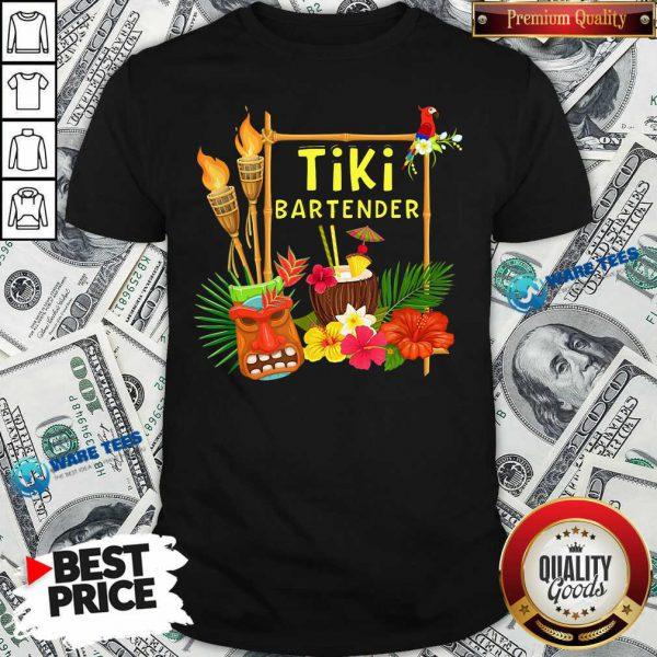 Nice Tiki Bartender Tiki Head Tiki Torches Parrot Tropical Flower Shirt