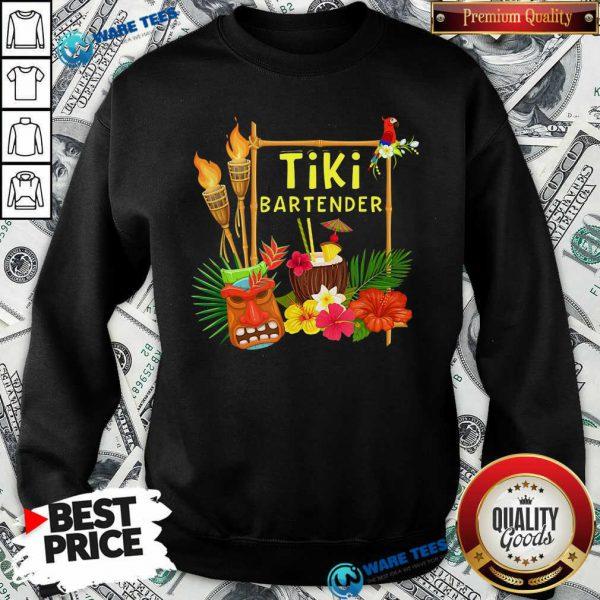 Nice Tiki Bartender Tiki Head Tiki Torches Parrot Tropical Flower Sweatshirt