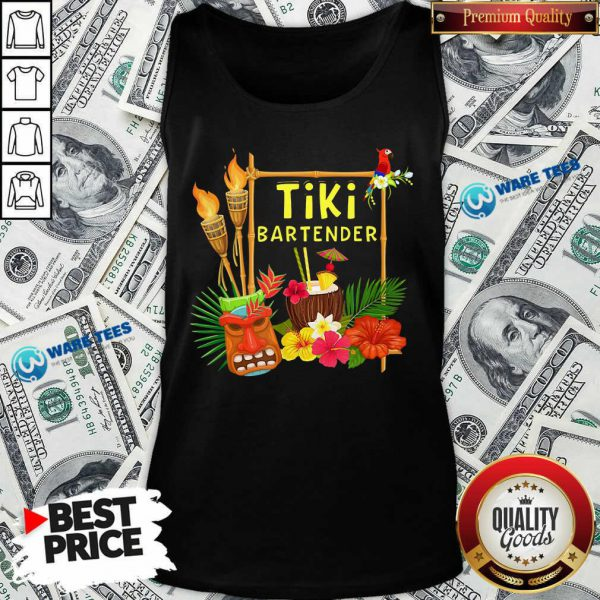 Nice Tiki Bartender Tiki Head Tiki Torches Parrot Tropical Flower Tank Top