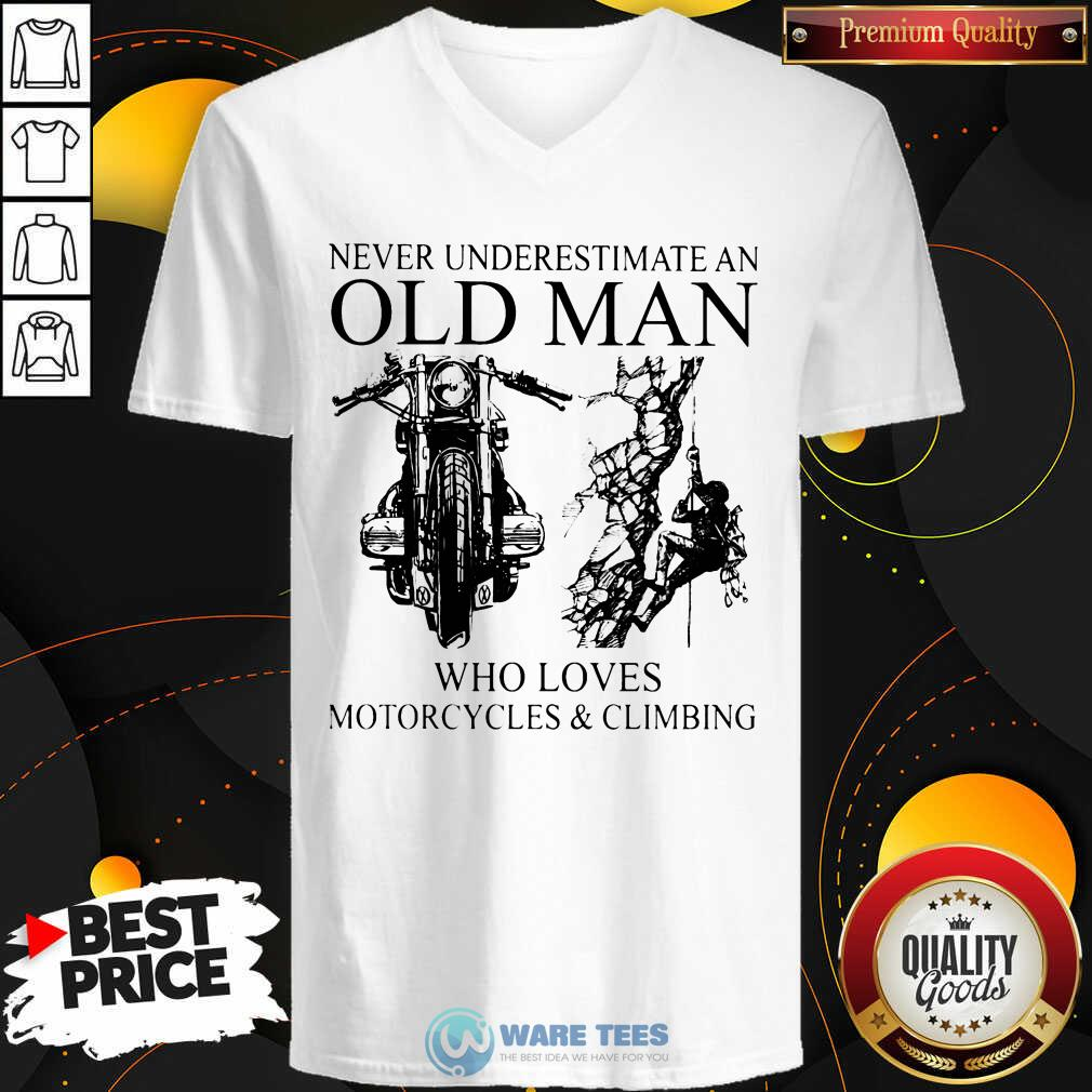 Old Man Who Loves Motorcycles And Climbing V-neck