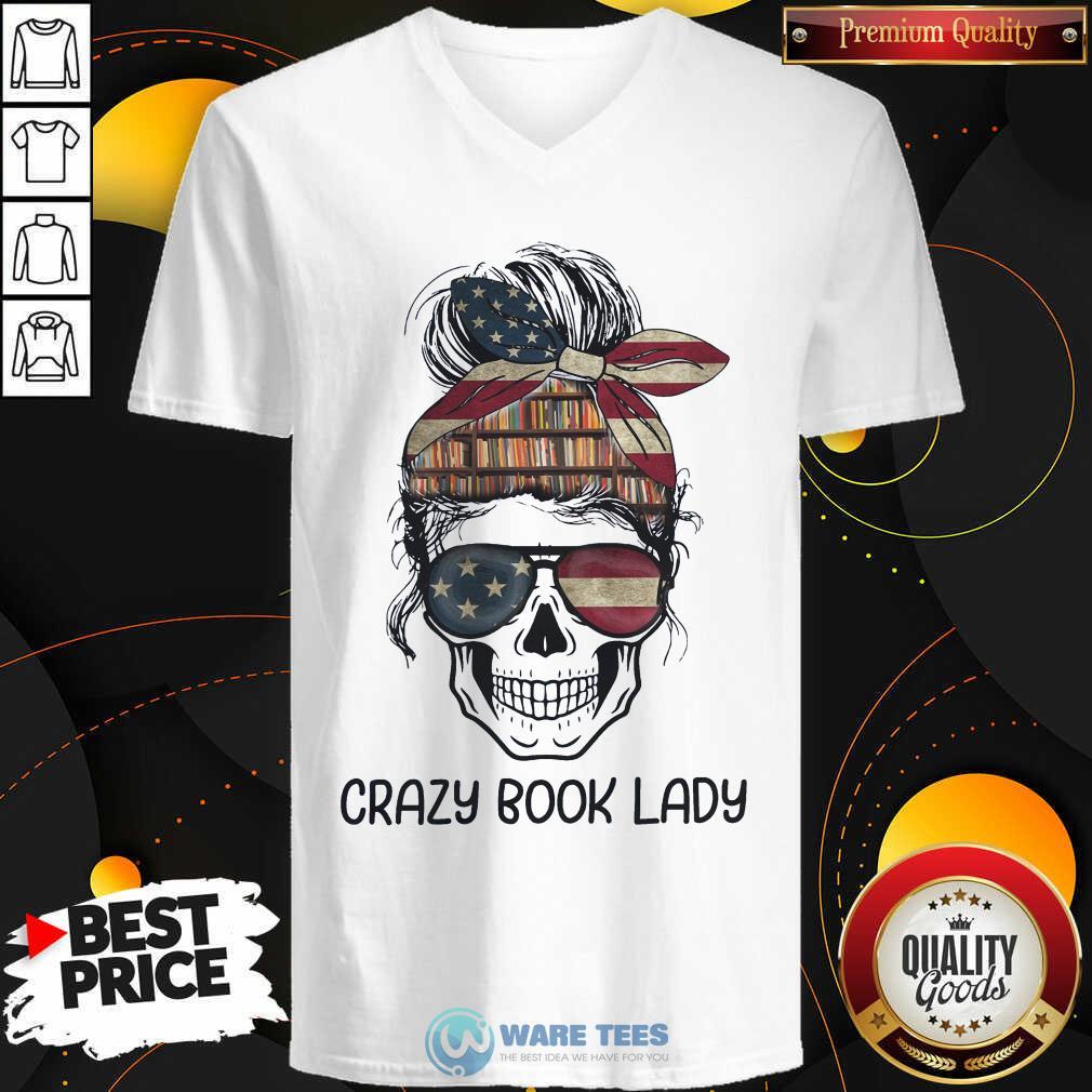 Skull Girl Crazy Book Crazy V-neck
