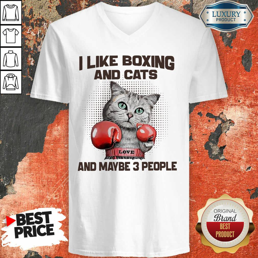 I Like Boxing And Cats And Maybe 3 People V-neck