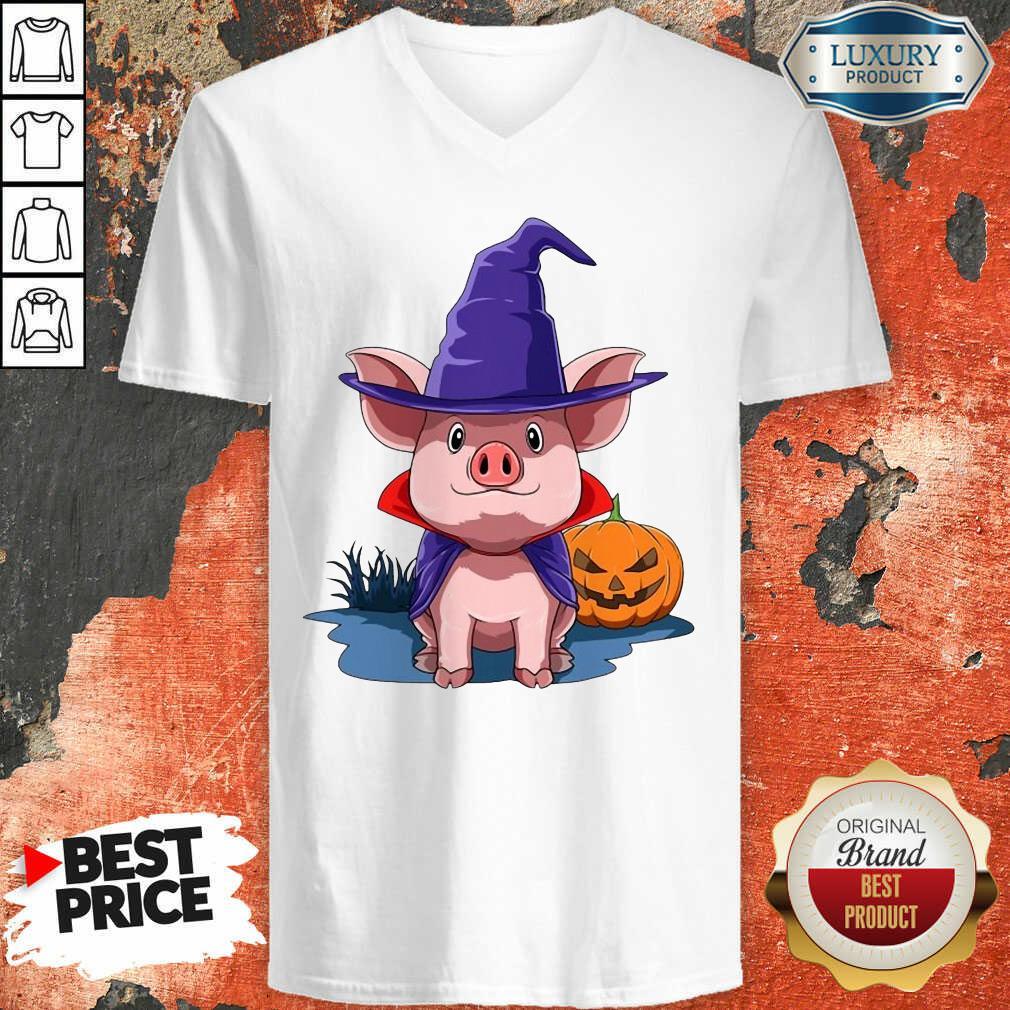 Pig Halloween Pumpkin Pig Owner V-neck