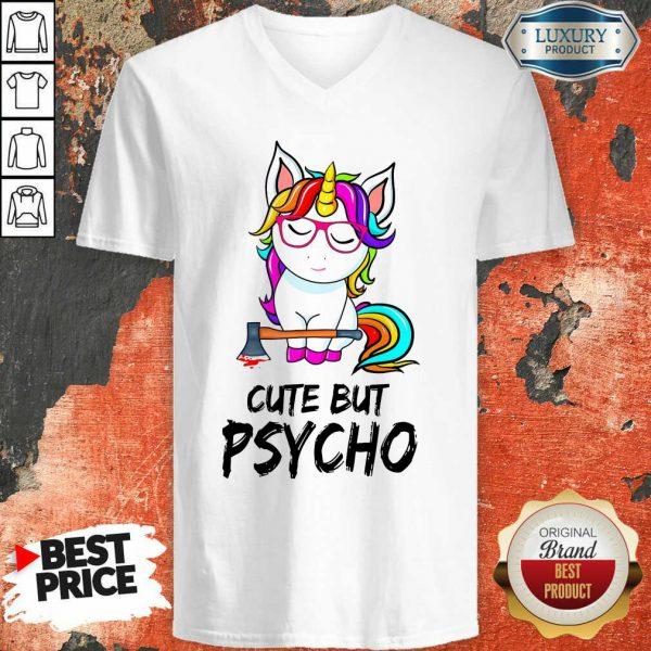 Unicorn Cute But Psycho V-neck